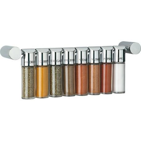 Set 8 tarros cromo con barra de 400 mm