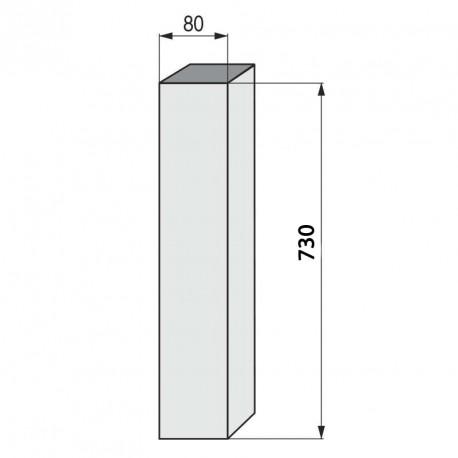 Columna cuadrada para mesa baja inox brillo