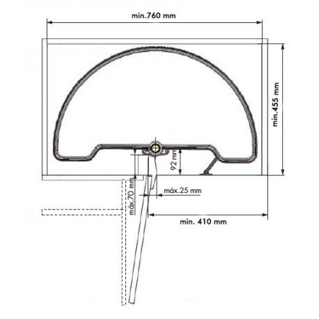 Bandeja semicircular 180º