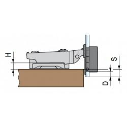 Bisagra recta cazoleta de 26mm para cristal
